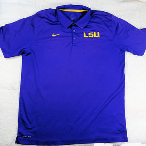 NCAA LSU  Nike Dry-Fit Blue Polo Shirt Size 2XL